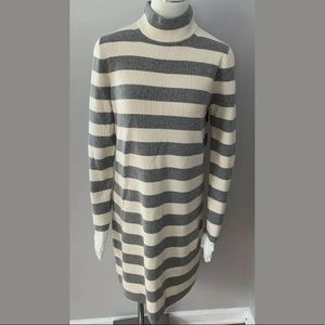 J. Crew Wool Ribbed Long Sweater Dress Mock Neck L